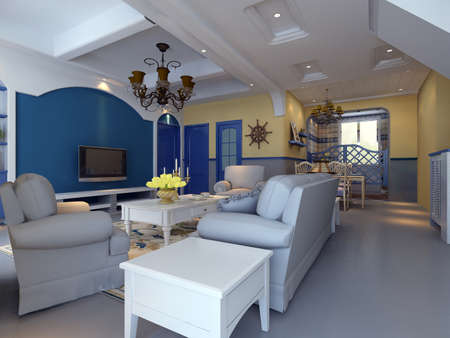 comfortable: 3d rendering of home interior.