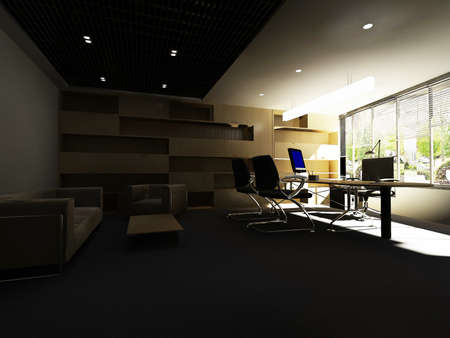 luxury hotel room: modern office interior 3d rendering