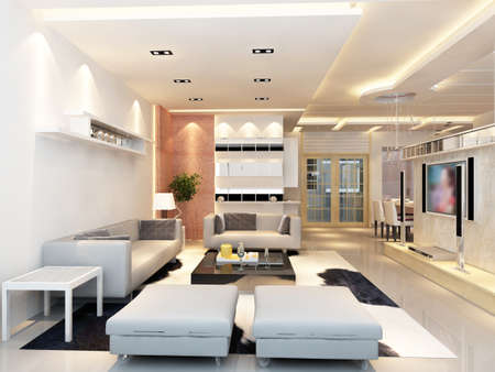 luxury house: 3d rendering of home interior.