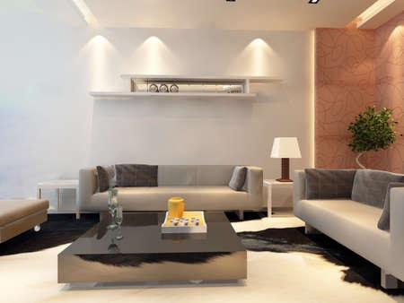 illuminated: 3d rendering of home interior.