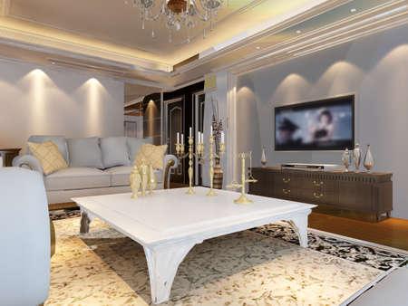 luxury living room: 3d rendering of home interior.