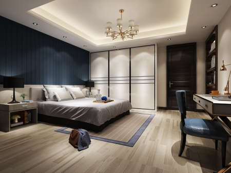 3D rendering bed room, so comfortable. Stock Photo