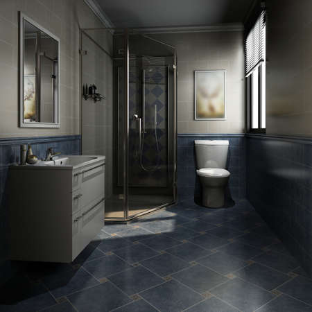 3D rendering of a Bathroom interior. Standard-Bild