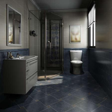 3D rendering of a Bathroom interior. Banque d'images
