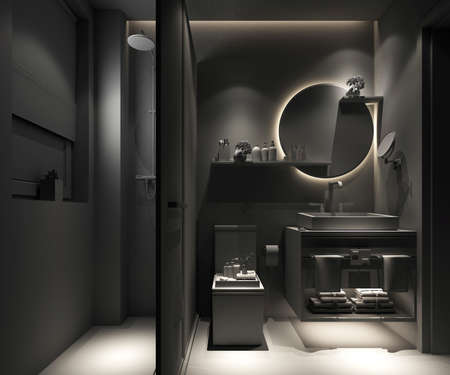 3D rendering of a Bathroom interior. Zdjęcie Seryjne