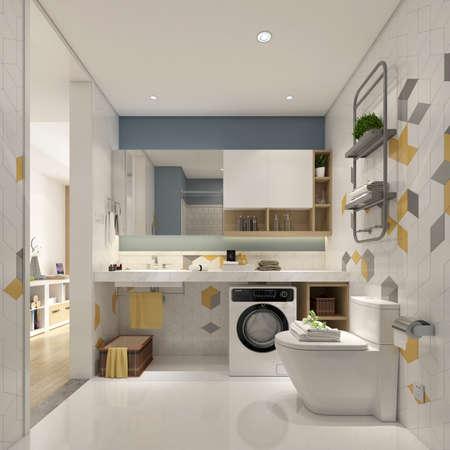 3D rendering of a Bathroom interior.