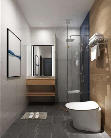 3D rendering of a Bathroom interior. Banco de Imagens