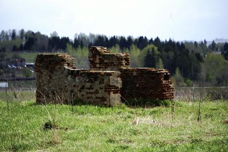 Destruction concept: bricks and debris from demolished building Stock Photo