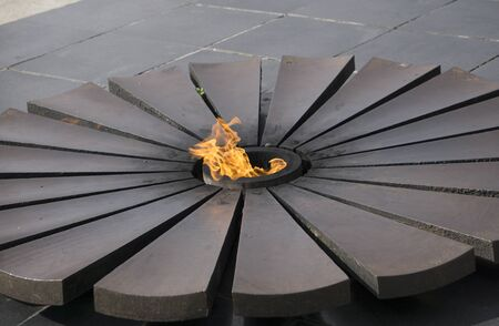 Burning an eternal flame in a circle with petals Stock Photo
