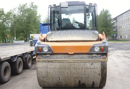 Close view on the road roller working on the new road construction site.repair