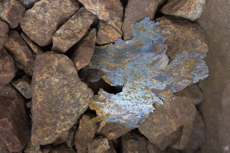 Big stones in the stone quarry. Close-up. Imagens