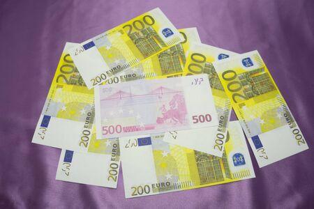 200, 500 Euro notes background texture - mingled pile Stock Photo