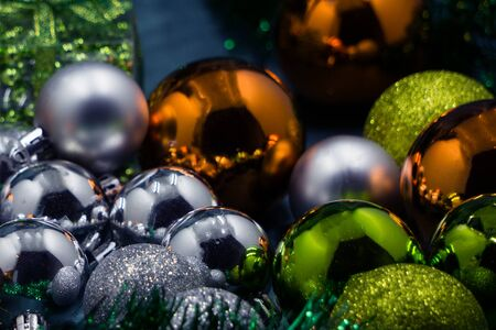 Xmas decoration scattered out on a wooden table Stock Photo