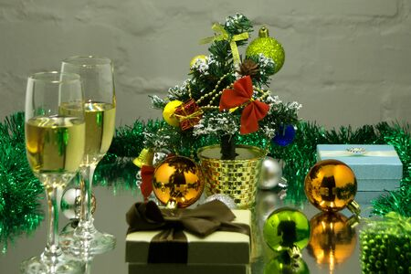 Flutes of champagne in holiday setting,Closeup. Stock Photo