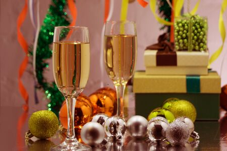 Holiday Celebrating Champagne. Christmas and New Year celebrate with champagne.