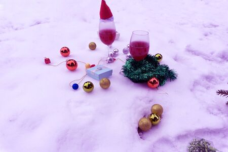 Christmas characters wine toys and decorations Stock Photo