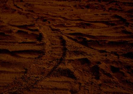 Martian sunset (Mars planet) red landscape. Looks like cold desert on Mars. Foto de archivo