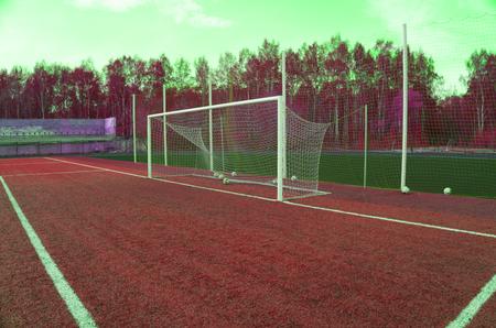 soccer gate goal on green grass Imagens