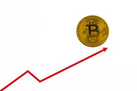 Bitcoin value growth showed white growth arrow and candlestick chart.copy space for text