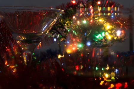Bokeh abstract light background on a dark background holiday . 版權商用圖片