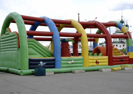 Children's inflatable jumpy house castle top half Stock Photo