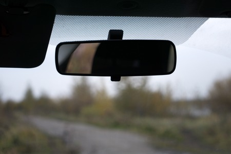 Car rear view mirror isolated on white 스톡 콘텐츠