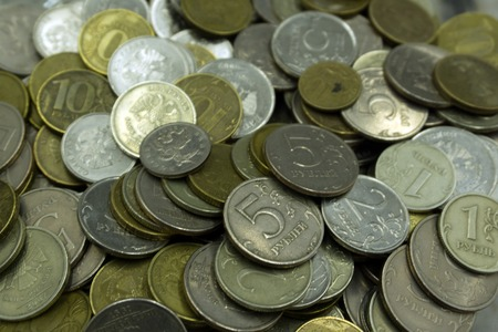 Soviet union coins background. Metal money of USSR