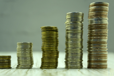 Savings for the bright future,The growth of coins kept in a piggy bank,Future money