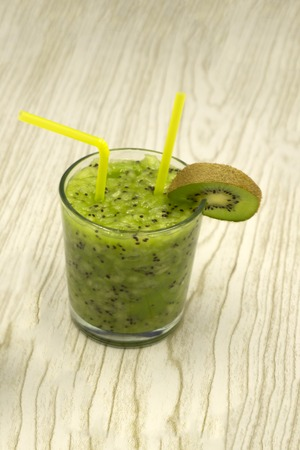 Kiwi soda in a glass , top view kiwi with soda , Kiwi fruit juice Banco de Imagens