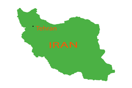 Magnifying Iran on map pin place plan 版權商用圖片
