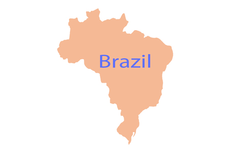 Magnifying Brazil on map country de earth graphic