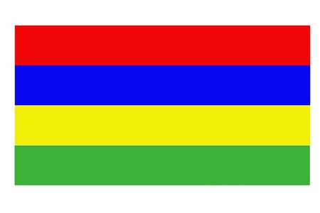Mauritius flag waving against clean blue sky, close up, isolated with clipping path mask alpha channel transparency