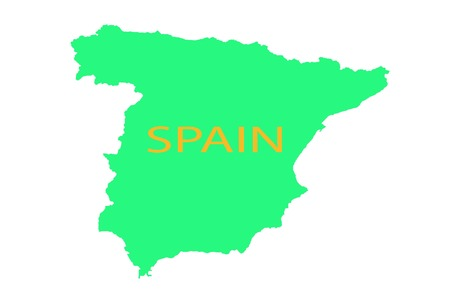 Spain on the map united vision world yellow Imagens