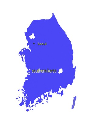 Closeup of North Korea and South Korea on map Imagens