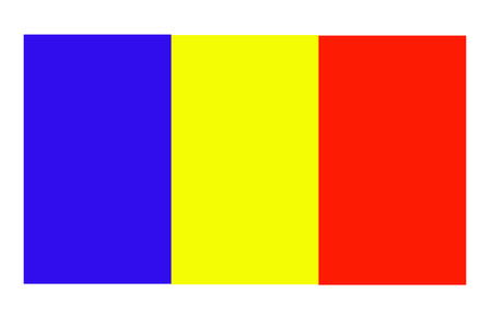 Flag of Romania waving in the wind against deep blue sky. Romanian flag