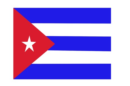 Fabric texture flag of Cuba red star