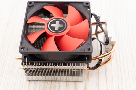 Cooler computer fan isolated on white background