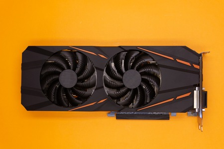 Modern graphic video card on red background