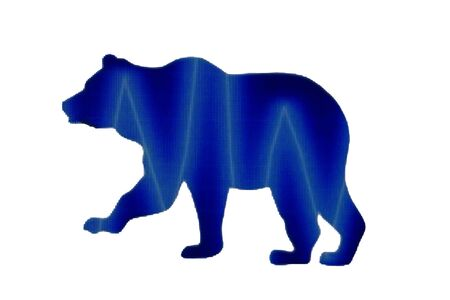 Bearish market concept, price down or falling demand collapse of crypto currency, bear figure standing on various of cryptocurrency physical coins, Фото со стока