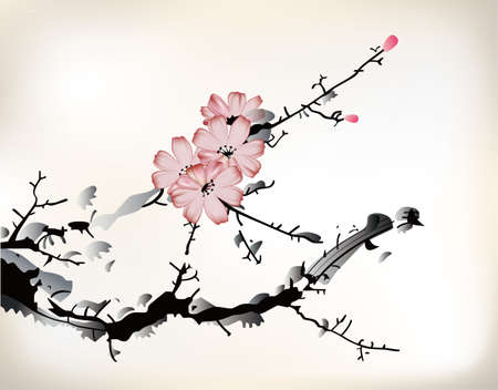 blossom painting Vector