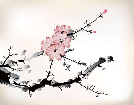fleur de cerisier: la peinture de fleurs Illustration