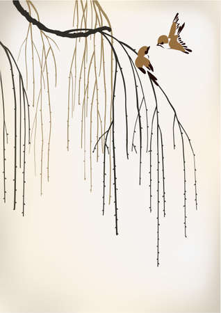 ヤナギの 2 羽の鳥  イラスト・ベクター素材