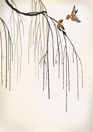 twee vogels op een wilg