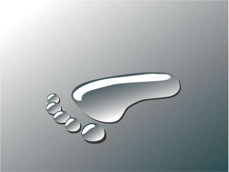 foot print: goutte d'eau empreinte