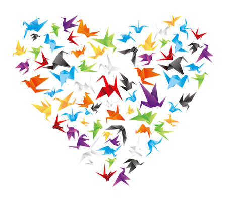 paper bird heart Vector