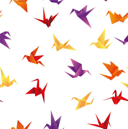 seamless paper bird background Vector