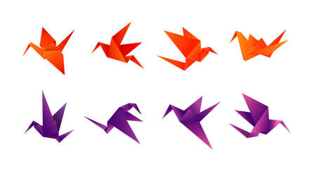 paper birds in different angles Vector