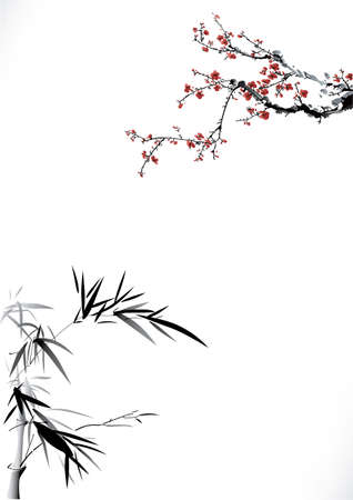spring in japan: ink winter sweet and bamboo