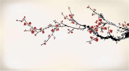 kersenbloesem: ink winter zoete Stock Illustratie