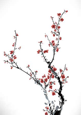 japonais: hiver d'encre douce Illustration